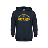 Youth Navy Fleece Hoodie-Coppin State Club Football w/ Football
