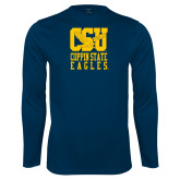 Performance Navy Longsleeve Shirt-CSU Coppin State Eagles