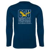 Performance Navy Longsleeve Shirt-CSU Coppin State Athletics