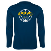 Performance Navy Longsleeve Shirt-Coppin State Basketball Arched w/ Ball