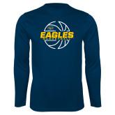 Performance Navy Longsleeve Shirt-Eagles Basketball Split Lined Ball