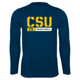 Performance Navy Longsleeve Shirt-CSU Basketball Stencil