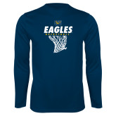 Performance Navy Longsleeve Shirt-Eagles Basketball w/ Hanging Net