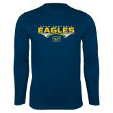 Performance Navy Longsleeve Shirt-Eagles Club Football Stacked