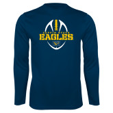 Performance Navy Longsleeve Shirt-Coppin State Eagles Football Vertical