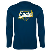 Performance Navy Longsleeve Shirt-Eagles Baseball Plate w/ Script