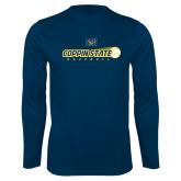 Performance Navy Longsleeve Shirt-Coppin State Baseball Flying Ball