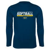 Performance Navy Longsleeve Shirt-Coppin State University Softball Stencil