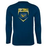 Performance Navy Longsleeve Shirt-Softball Plate