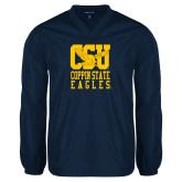 V Neck Navy Raglan Windshirt-CSU Coppin State Eagles