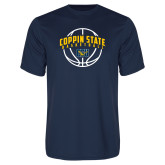 Performance Navy Tee-Coppin State Basketball Arched w/ Ball