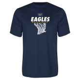 Performance Navy Tee-Eagles Basketball w/ Hanging Net