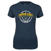 Ladies Syntrel Performance Navy Tee-Coppin State Basketball Arched w/ Ball