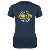 Ladies Syntrel Performance Navy Tee-Eagles Basketball Split Lined Ball