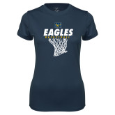 Ladies Syntrel Performance Navy Tee-Eagles Basketball w/ Hanging Net