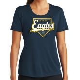 Ladies Syntrel Performance Navy Tee-Eagles Baseball Plate w/ Script