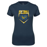 Ladies Syntrel Performance Navy Tee-Softball Plate