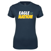 Ladies Syntrel Performance Navy Tee-Eagle Nation