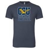 Next Level Vintage Navy Tri Blend Crew-CSU Coppin State Eagles
