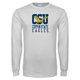 White Long Sleeve T Shirt-CSU Coppin State Eagles