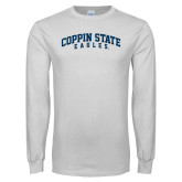 White Long Sleeve T Shirt-Arched Coppin State Eagles