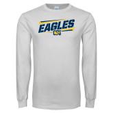 White Long Sleeve T Shirt-Slanted Eagles w/ Logo