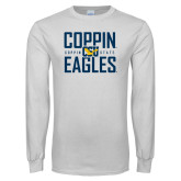 White Long Sleeve T Shirt-Coppin Eagles Stacked