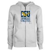 ENZA Ladies White Fleece Full Zip Hoodie-CSU Coppin State Athletics