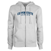ENZA Ladies White Fleece Full Zip Hoodie-Arched Coppin State Eagles