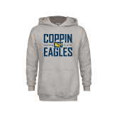 Youth Grey Fleece Hood-Coppin Eagles Stacked