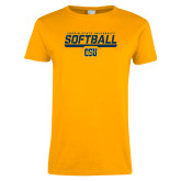 Ladies Gold T Shirt-Coppin State University Softball Stencil