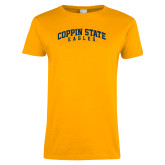 Ladies Gold T Shirt-Arched Coppin State Eagles