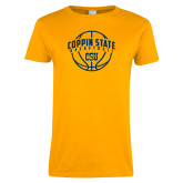 Ladies Gold T Shirt-Coppin State Basketball Arched w/ Ball