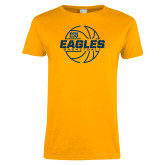 Ladies Gold T Shirt-Eagles Basketball Split Lined Ball