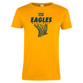 Ladies Gold T Shirt-Eagles Basketball w/ Hanging Net