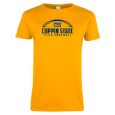 Ladies Gold T Shirt-Coppin State Club Football w/ Football
