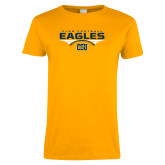 Ladies Gold T Shirt-Eagles Club Football Stacked