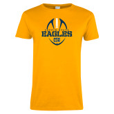 Ladies Gold T Shirt-Coppin State Eagles Football Vertical