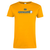 Ladies Gold T Shirt-Coppin State Baseball Flying Ball