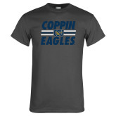Charcoal T Shirt-Coppin Eagles Stacked w/ Stripes