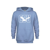 Youth Light Blue Fleece Hoodie-Official Logo