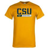 Gold T Shirt-CSU Basketball Stencil
