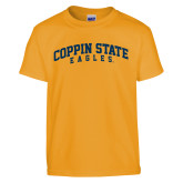 Youth Gold T Shirt-Arched Coppin State Eagles