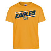 Youth Gold T Shirt-Slanted Eagles w/ Logo