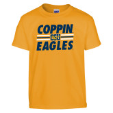 Youth Gold T Shirt-Coppin Eagles Stacked w/ Stripes