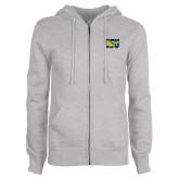 ENZA Ladies Grey Fleece Full Zip Hoodie-Official Logo
