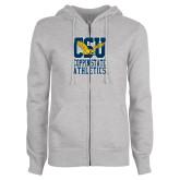 ENZA Ladies Grey Fleece Full Zip Hoodie-CSU Coppin State Athletics