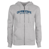 ENZA Ladies Grey Fleece Full Zip Hoodie-Arched Coppin State Eagles