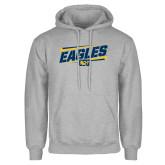 Grey Fleece Hoodie-Slanted Eagles w/ Logo