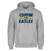 Grey Fleece Hoodie-Coppin Eagles Stacked w/ Stripes